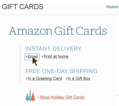 SEND AMAZON GIFT CARD VIA EMAIL